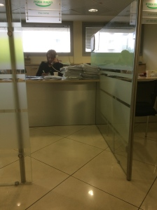 secret bank photo. I feel bad at the amount of paperwork she has.